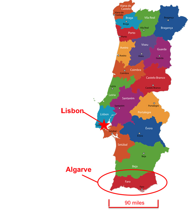 Portugal Map, Showing Algarve and Lisbon