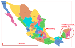 Mexico Map With Yucatan With Scale showing Best Places In The World To Retire locations
