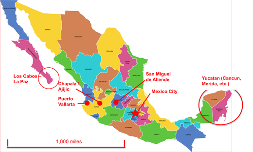 Mexico Map With Yucatan With Scale