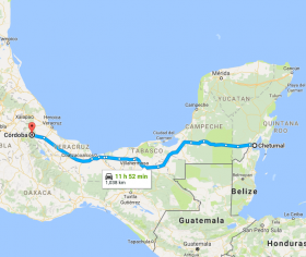 Chetumal to Villahermosa to Cordoba map – Best Places In The World To Retire – International Living