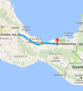 Map of the road from Cordoba to Villahermosa, Mexico – Best Places In The World To Retire – International Living