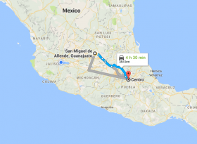 Map of San Miguel de Allende to Puebla, Mexico – Best Places In The World To Retire – International Living
