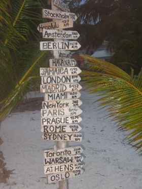 Belize signpost of distances to international cities – Best Places In The World To Retire – International Living