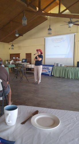 Cathie LoCiero giving a seminar on emergency healthcare options, Baja California Sur, Mexico, pictured – Best Places In The World To Retire – International Living