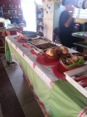 Food set out for a party at Mikki James's home, Progresso, Yucatan, Mexico – Best Places In The World To Retire – International Living