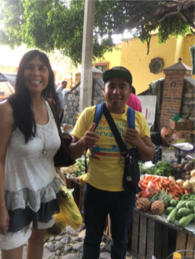 Jet Metier of Best Places in the World to Retire with fried grasshopper vendor, Ajijic, Mexico – Best Places In The World To Retire – International Living