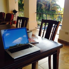 Makeshift office at Lucero Homes and Golf, near Boquete, Panama – Best Places In The World To Retire – International Living