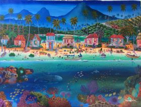 Painting of village life at the home gallery of Creek Art, Bullet Tree, Cayo, Belize – Best Places In The World To Retire – International Living
