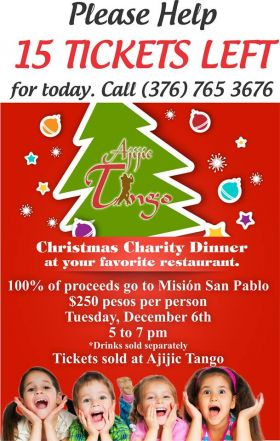 Poster for the Christmas Charity Dinner at Tango Restaurant, Ajijic, Mexico – Best Places In The World To Retire – International Living