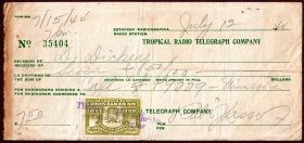 Tropical Radio Telegraph Company receipt 1944 with Panama revenue stamp – Best Places In The World To Retire – International Living
