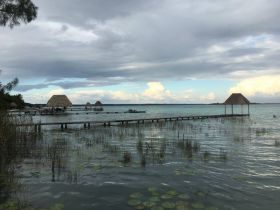 Bacalar Lake with piers