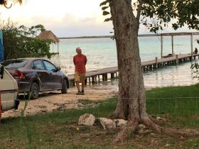 Bacalar with Chuck Bolotin on the pier