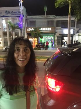 Jet Metier shopping at night in Chetumal, Mexico