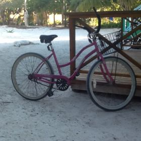 Karen Merritt's pink bicycle in San Pedro, Ambergris Caye, Belize – Best Places In The World To Retire – International Living
