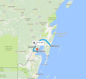 Map of Mahahual to Chetumal, Mexico