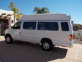 Our big white van for our trip to Mexico