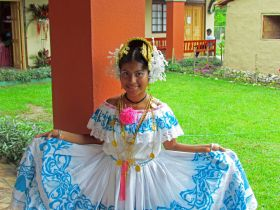 Panama girl with blue and white pollera in El Valle de Anton, Panama – Best Places In The World To Retire – International Living