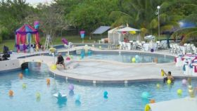 Party prep at Grand Baymen pool, Ambergris Caye, Belize – Best Places In The World To Retire – International Living