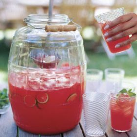 Agua fresca made from watermelon in a traditional barrel -shaped glass container – Best Places In The World To Retire – International Living