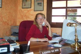Kjersten Van Horn at her sales office at Valle Escondito, Boquete, Panama – Best Places In The World To Retire – International Living