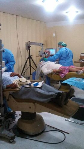 Ophthalmologists performing cataract surgery for the indigenous population Boquete Panama